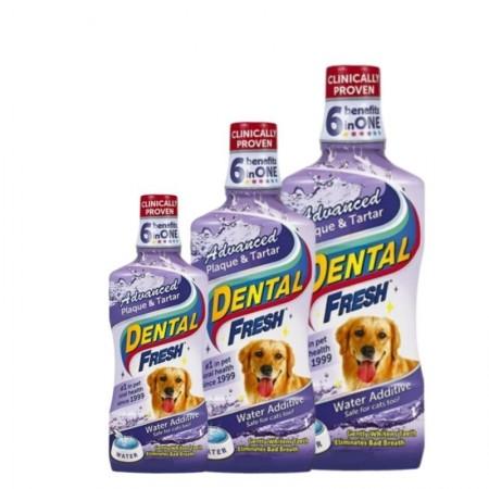 Dantų higienos skystis šunims, šalinantis akmenis ir apnašas Dental Fresh Dog Plaque&Tartar 237ml.